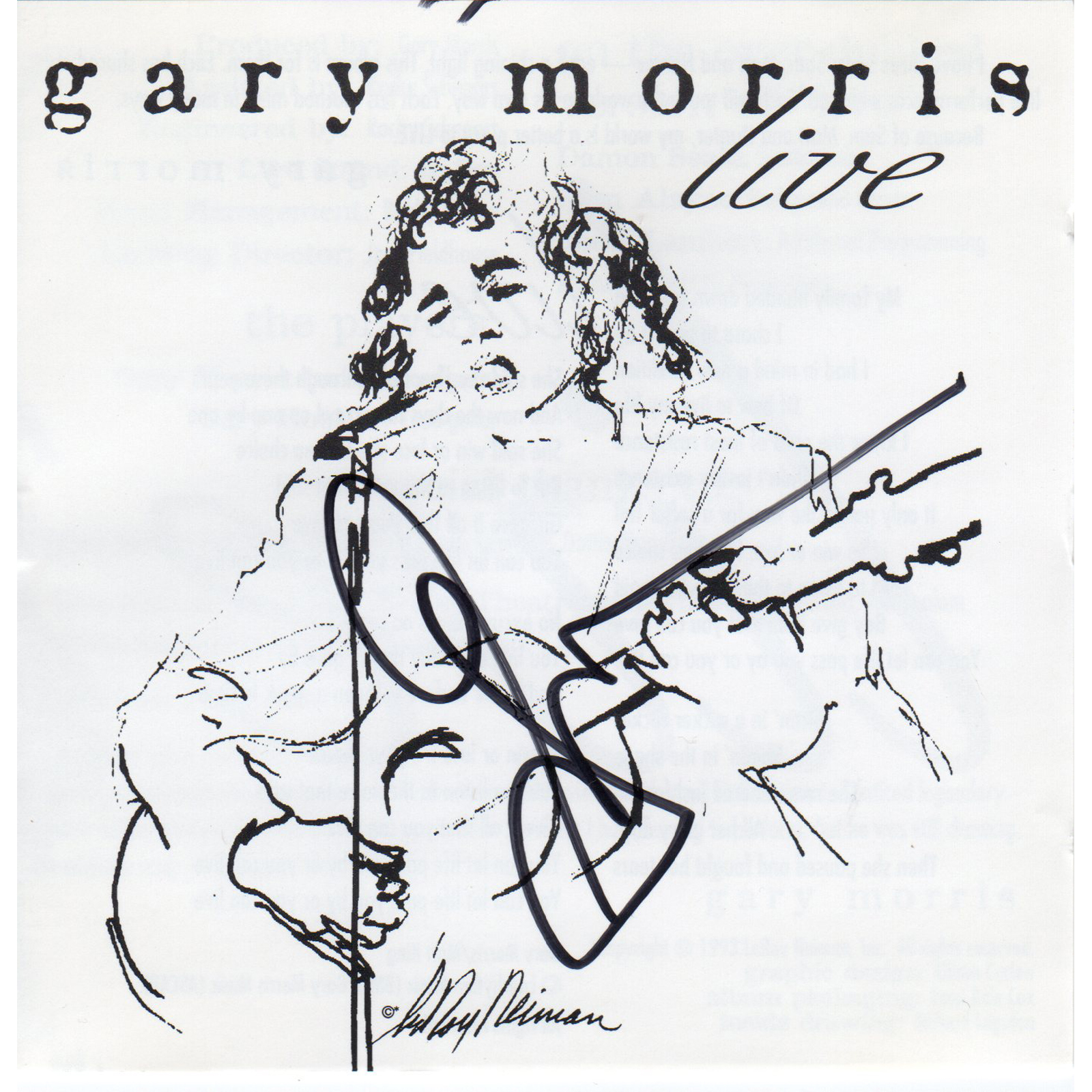 Gary Morris Live CD Autographed Country Music Memorabilia