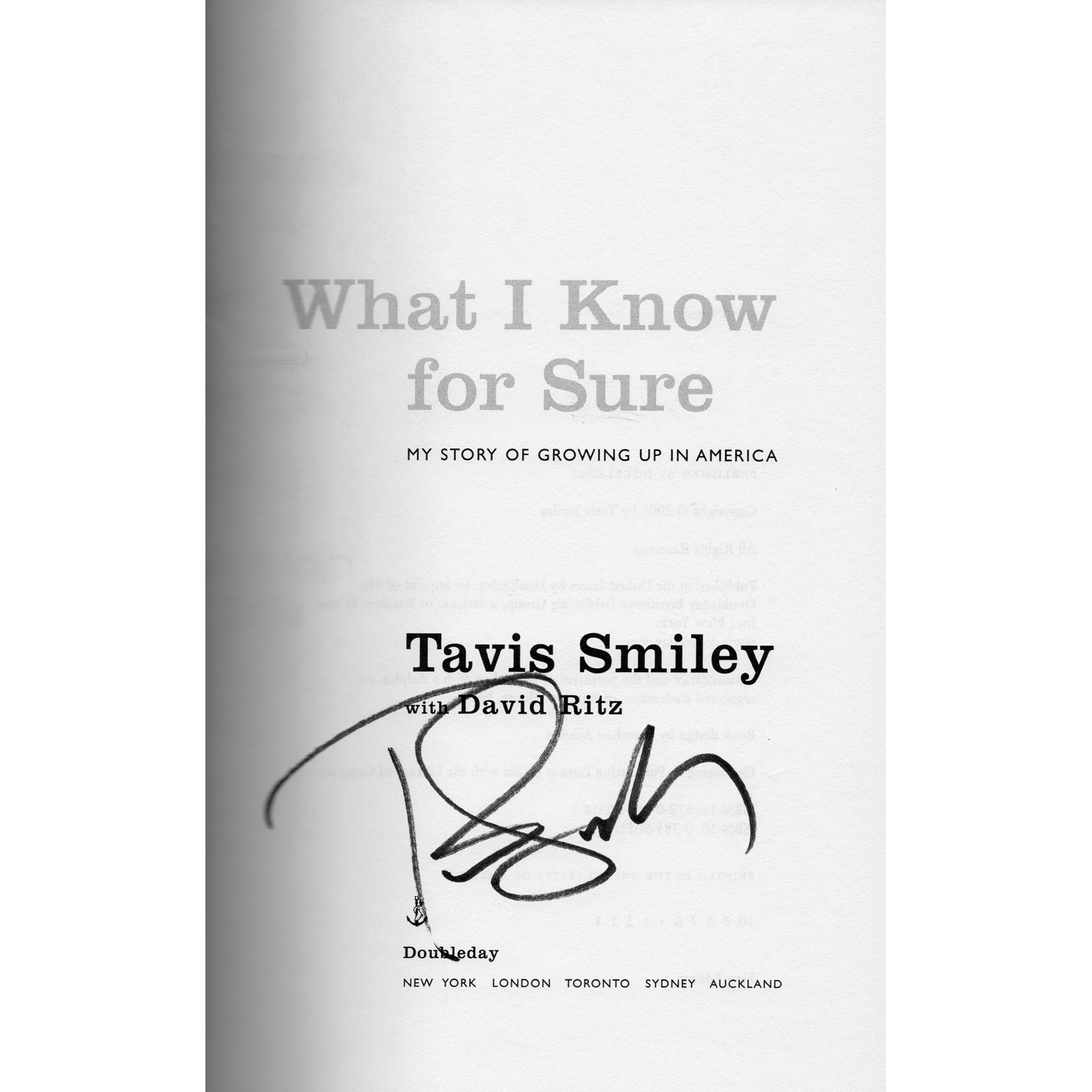 TAVIS SMILEY What I Know For Sure Book Autographed Signed Title Page