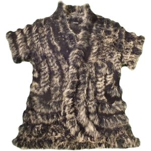 DONNA FARGO's DOLCE CABO Knit Vest Short Sleeves Large Acrylic Rabbit Fur